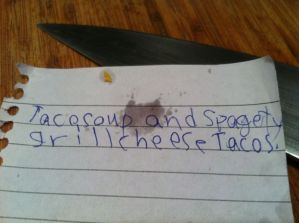 The orders, complete with splatter and adorable spelling.