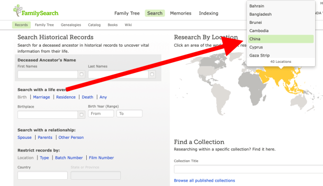 Family Search map