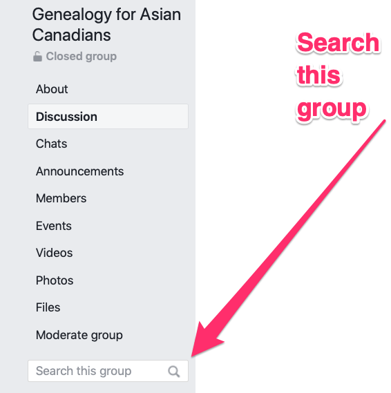 Pic of Facebook search this group