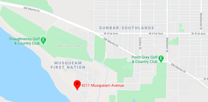 Location of Chinese market gardens on Musqueam lands