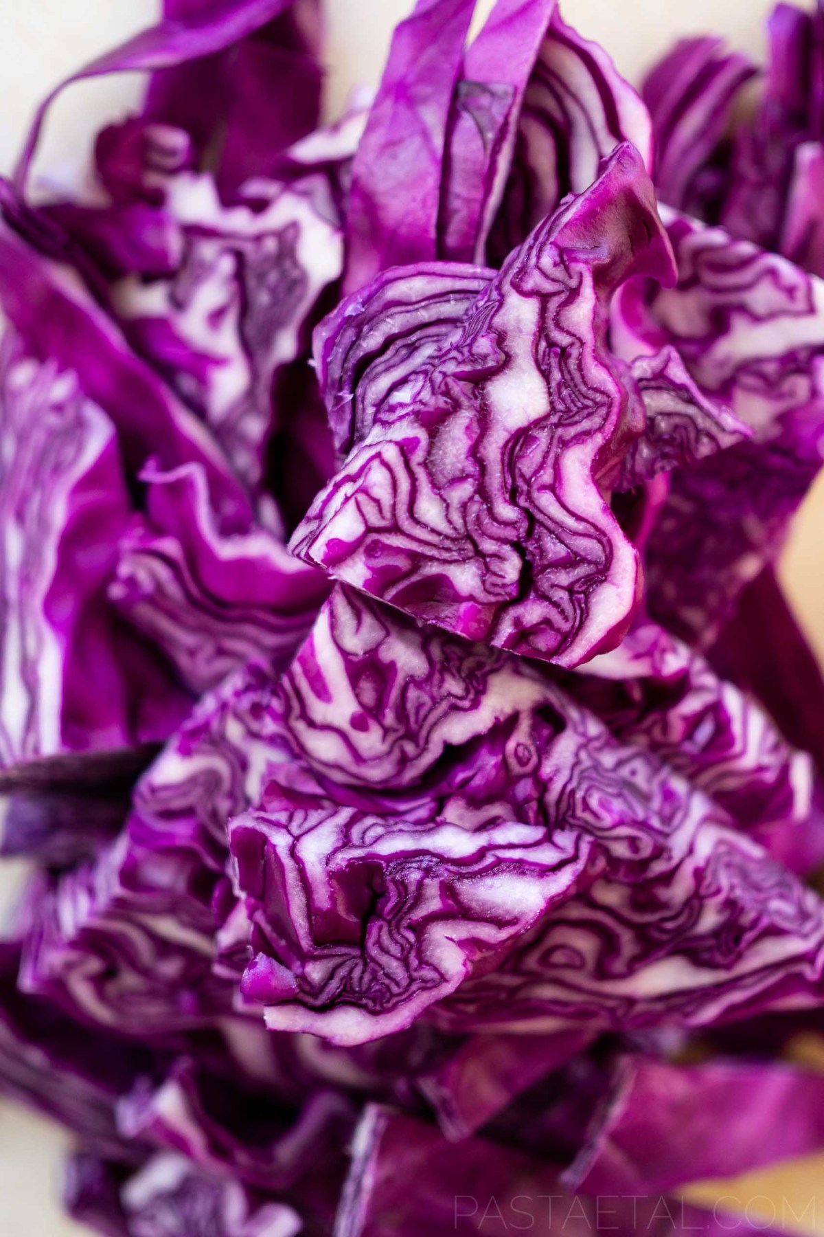close up of chopped red cabbage