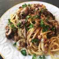 Spaghetti mit Linsen-Pilz-Rahm-Sauce