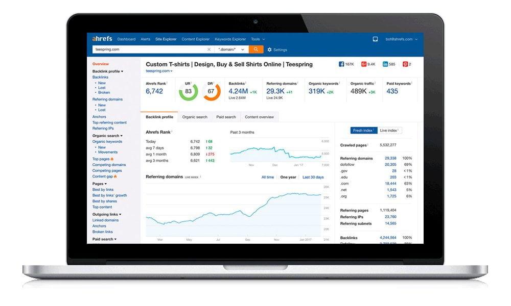 Ahrefs, sito internet per misurare i profili backlink