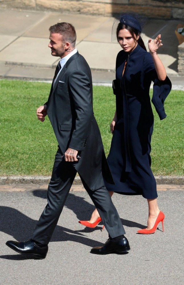 David e Victoria Beckham al Royal wedding di Harry e Meghan, foto Andrew Milligan/Reuters