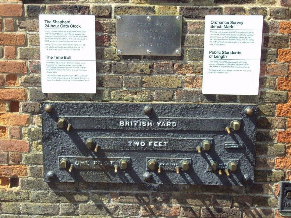 Lunghezze sistema imperiale britannico a Greenwich