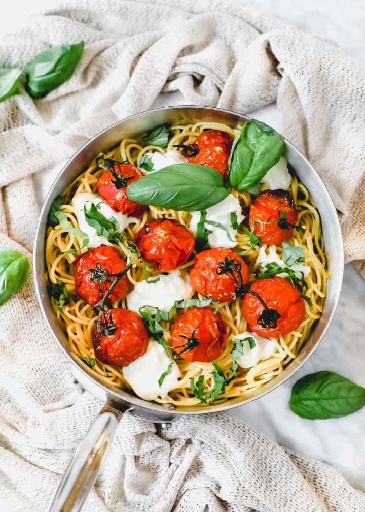 roasted tomato and burrata pasta