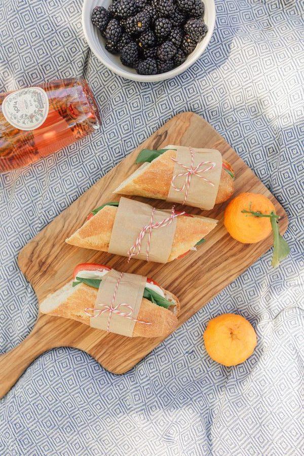 Caprese Panino on a picnic blanket