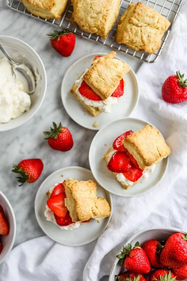 flatlay strawberry shortcake in small plates