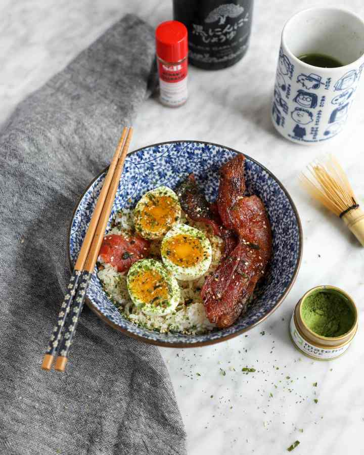 oven-baked bacon jammy eggs japanese rice bowl