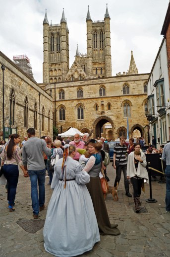 Lincoln Cathedral above crowd