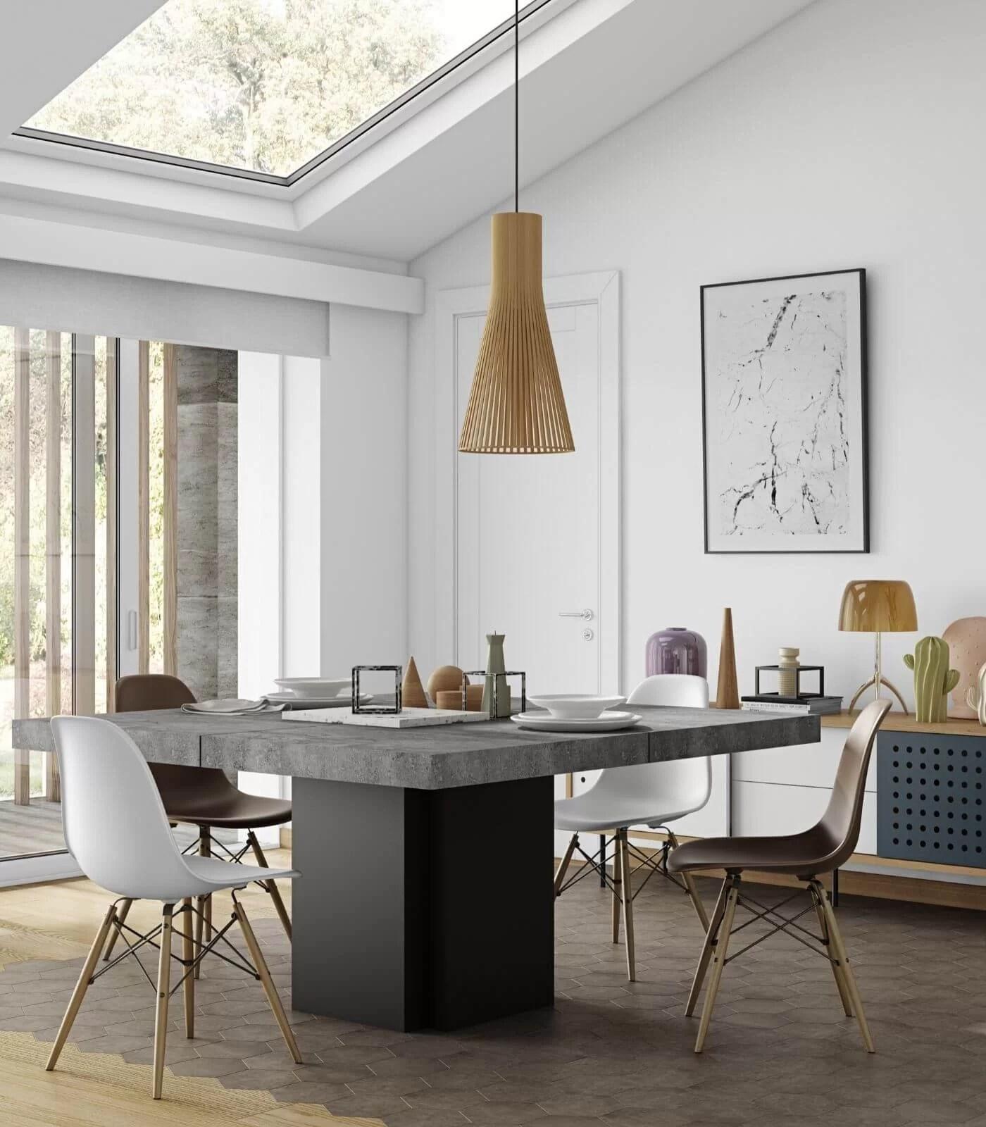 table a manger fly effet beton 130cm