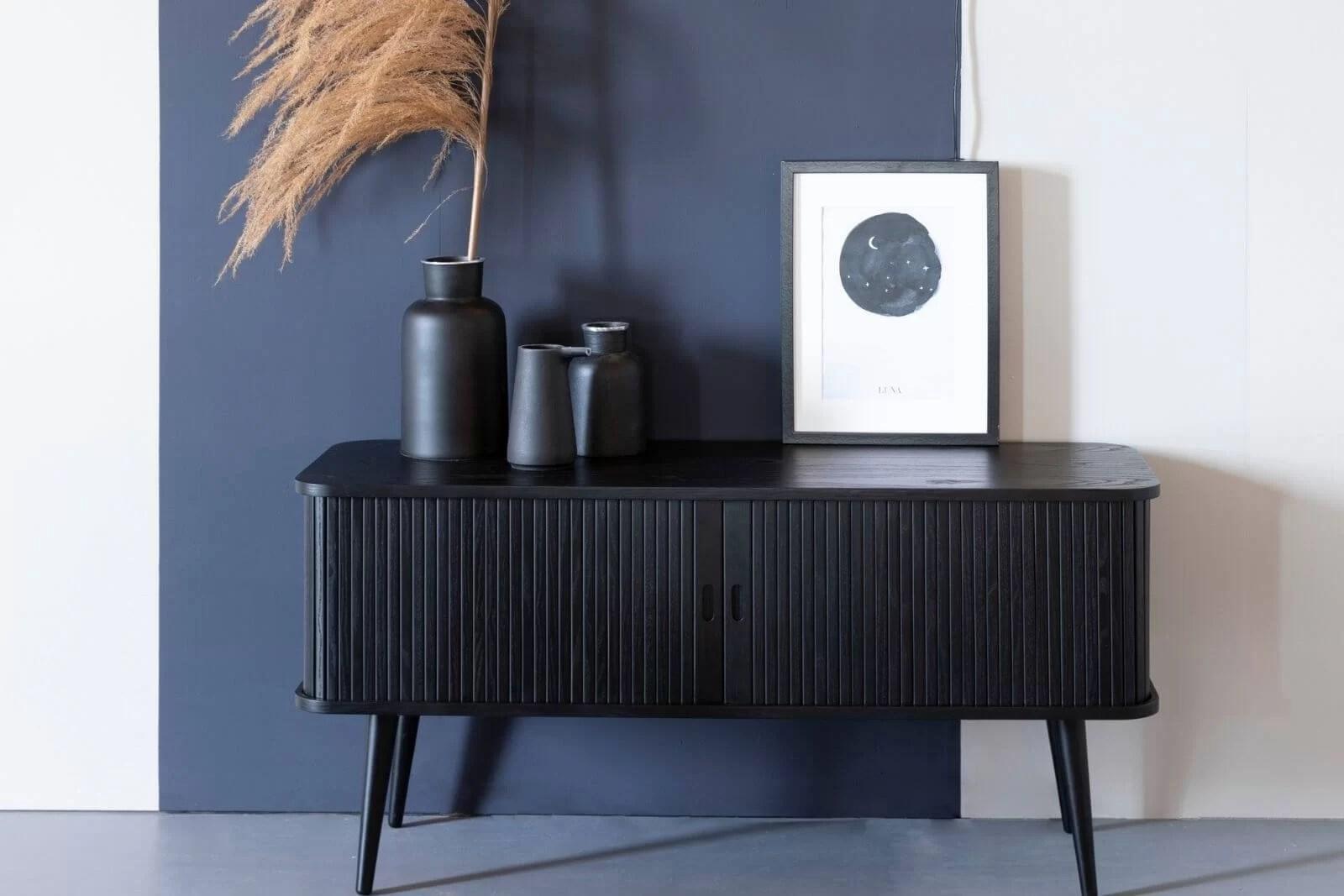 buffet meuble tv barbier noir coulissant