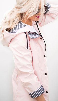 Pastels and stripes_ pink rain coat