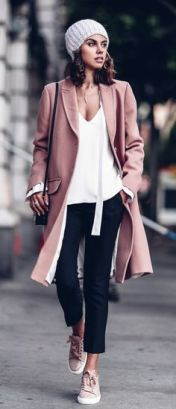 Pastels ans stripes_ pink trench coat