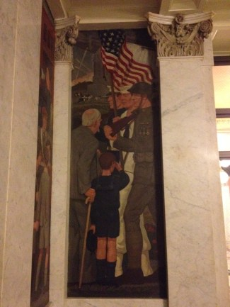 """To Those Who Serve,"" a 1927 painting in the Birch Bayh Federal Building and U.S. Courthouse. The old man represents a Civil War veteran (maybe even a GAR member!)."