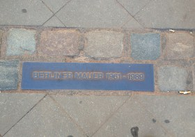 A marker commemorating a spot along the Berlin Wall.