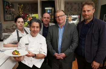 From left to right: EIPIC Chef Danni Barry, Deanes owner Michael Deane, Hercules Brewery's Niall McMullan, Carnbrooke Meats Jason Hamilton and David Love Cameron.