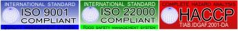 ISO 9001, ISO 22000, HACCP