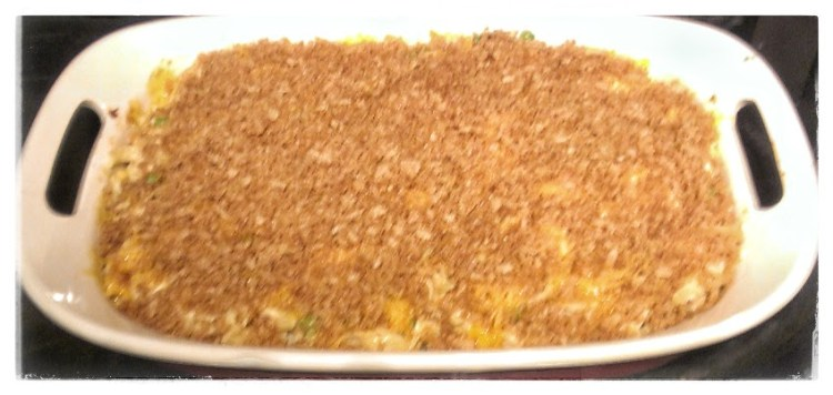 Tuna Casserole after 10 minutes in the oven then topped with cheese and crumbs.