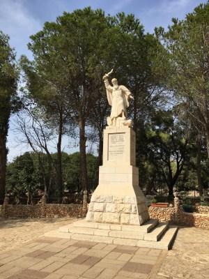 A statue of Elijah atop Mount Carmel