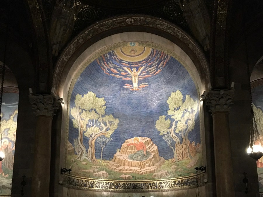 This mural sites above the altar at the front of the Church of the Agony on the Mount of Olives.