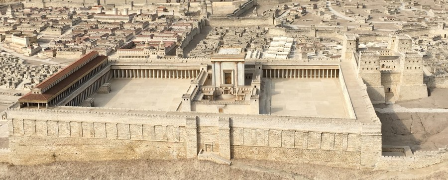 The Temple Mount in the 50:1 scale model of the city of Jerusalem at the Israel Museum.