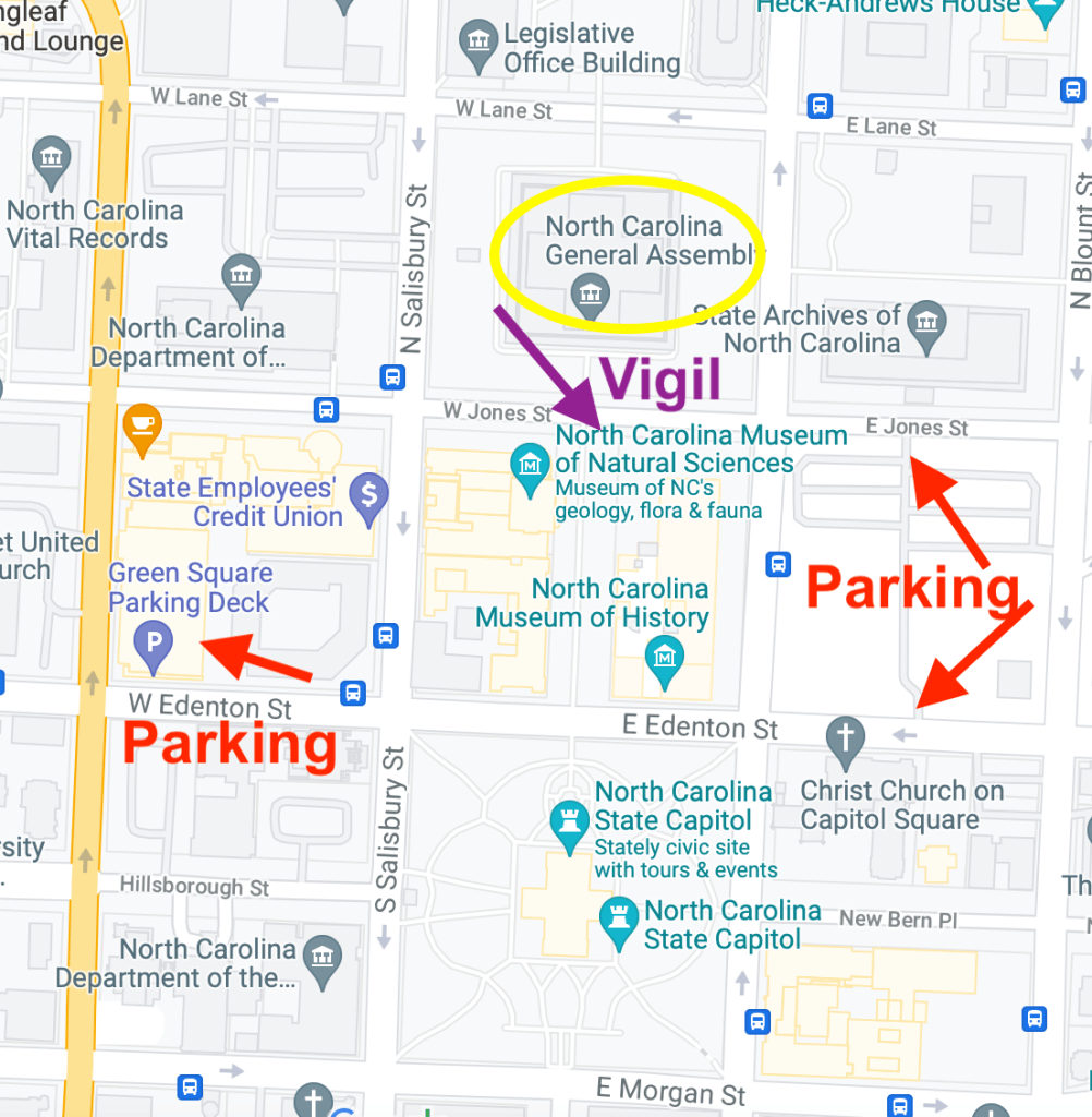 Map for Vigil and Parking