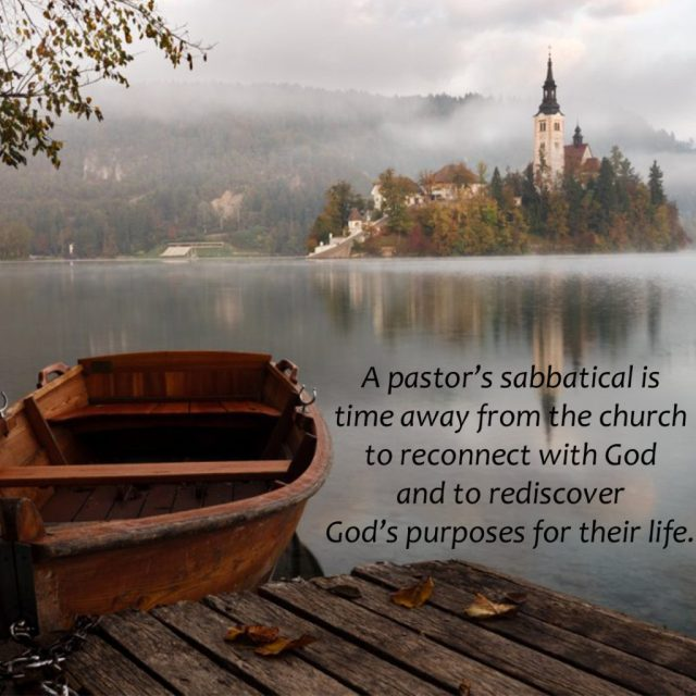 A pastor's sabbatical is time away from the church to reconnect with God and to rediscover God's purposes for their life.