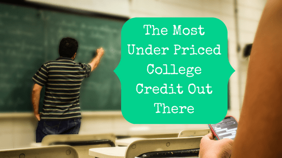 Picture of a professor writing on a chalkboard with the blog post title: The Most Under Priced College Credit Out There