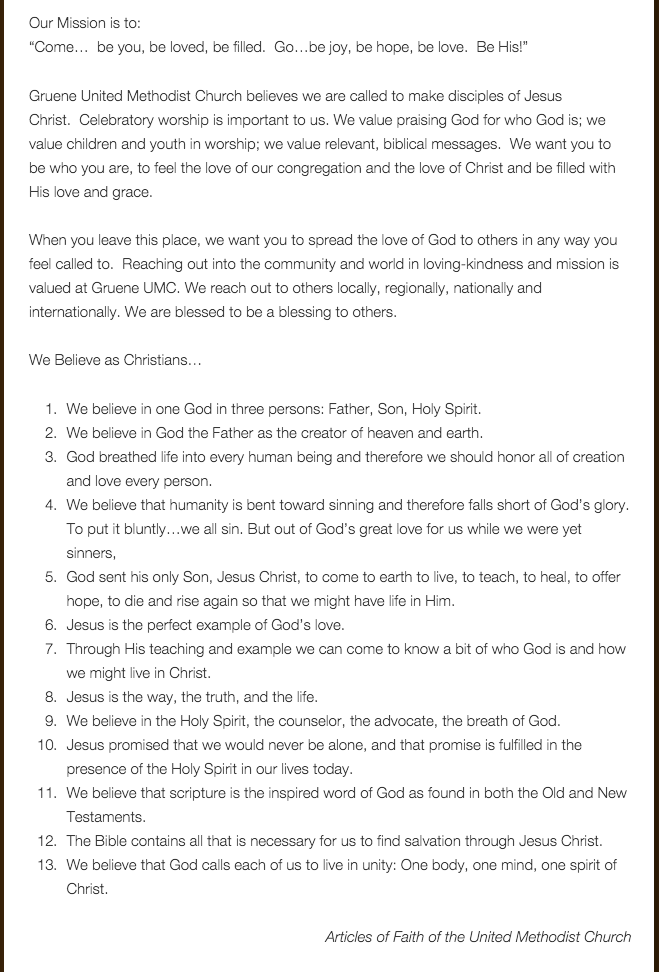 Gruene UMC Statement of Beliefs