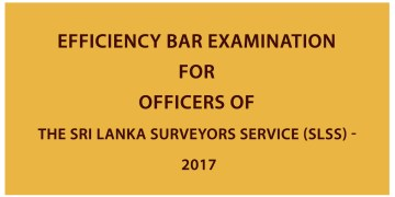 Download Efficiency Bar Examination for Officers of the Sri Lanka Surveyors Service Examination Past papers 2017. You can download the PDF file from the link below. It's free to download. Examination  –   Efficiency Bar Examination for Officers of the Sri Lanka Surveyors Service Year                –     2017