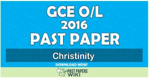 2016 O/L Christianity Past Paper   Tamil Medium