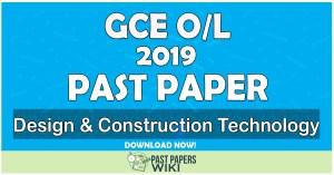 2019 O/L Design & Construction Technology Past Paper   Tamil Medium