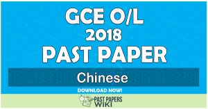 2018 O/L Chinese Past Paper | English Medium