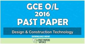 2016 O/L Design & Construction Technology Past Paper   Tamil Medium