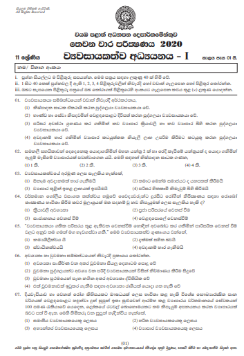 Grade 11 Entrepreneurship Studies Paper 2020 (3rd Term Test)   North Western  Province