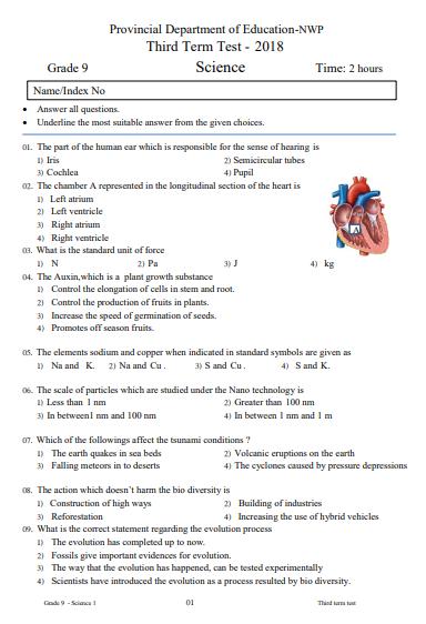 Grade 09 Science 3rd Term Test Paper 2018 English Medium – North Western Province