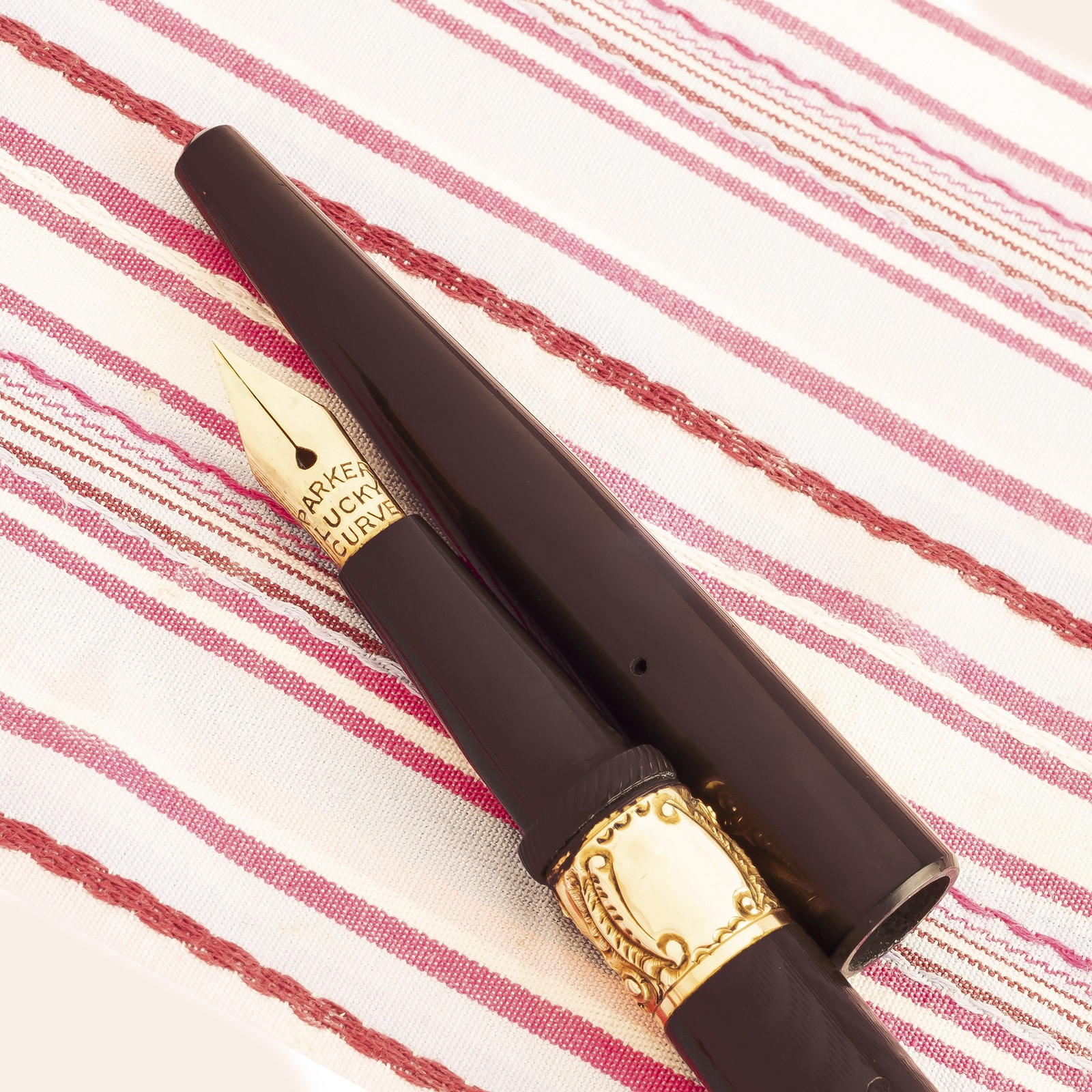 antique vintage parker lucky curve 6 black chased hard rubber eyedropper fountain pen
