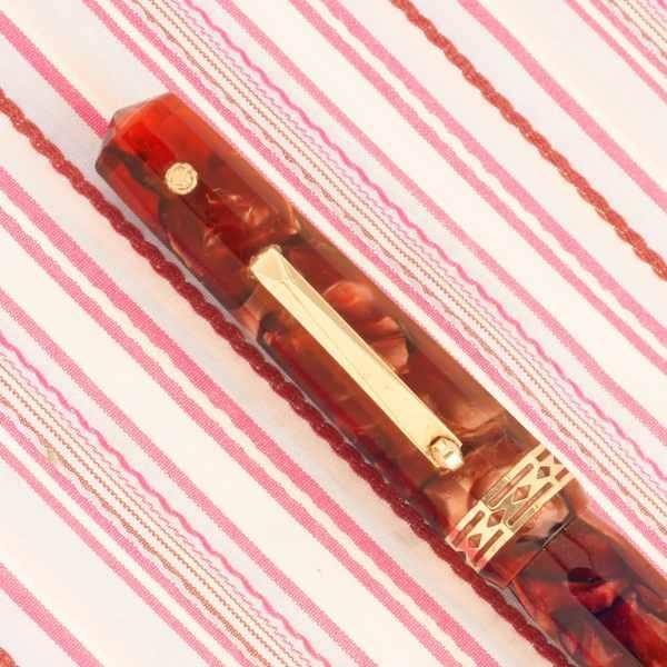 vintage eversharp doric senior jumbo red shell marble facet art-deco gold emblem fountain pen
