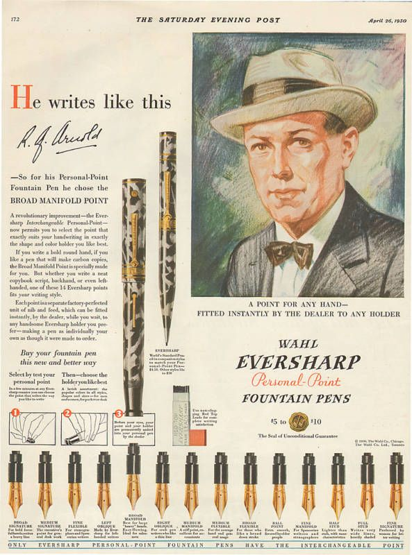 vintage wahl eversharp senior maxima EQUIPOISE gold seal emblem fountain pen pencil set