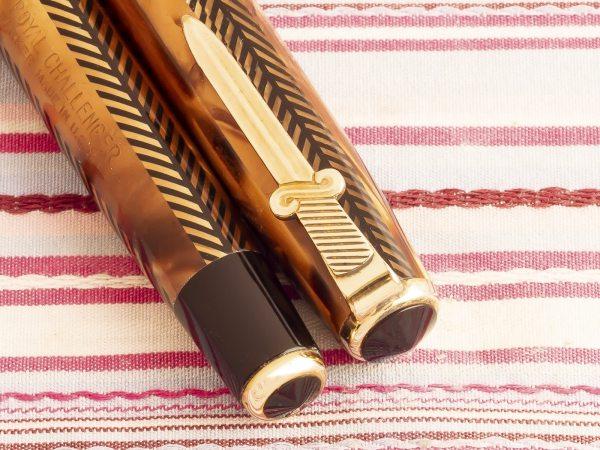 vintage parker royal challenger sword clip gold herringbone deluxe fountain pen pk243