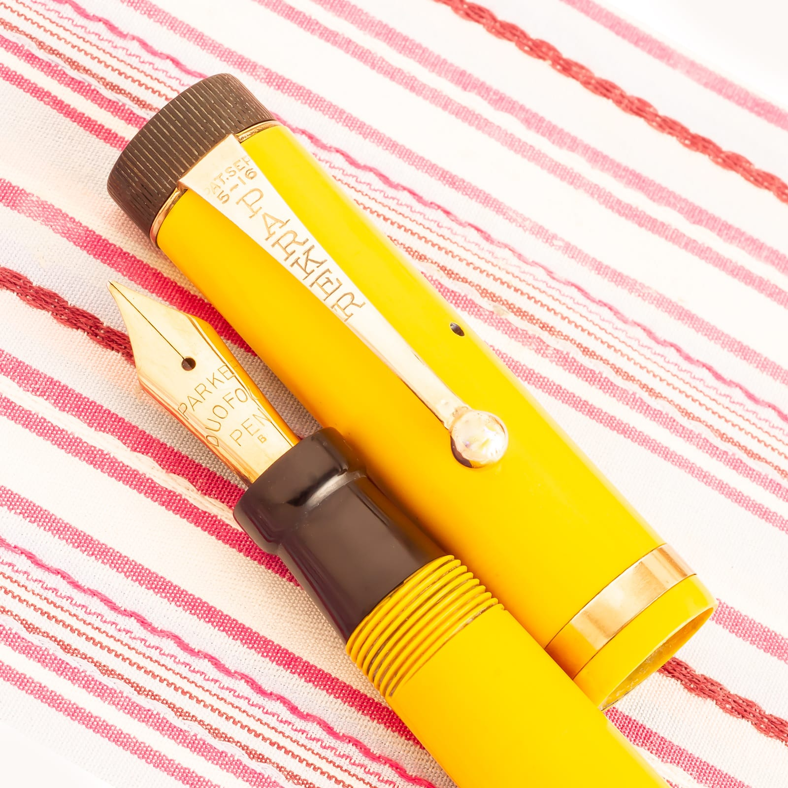 vintage parker duofold jr lucky curve mandarin yellow first year fountain pen rare