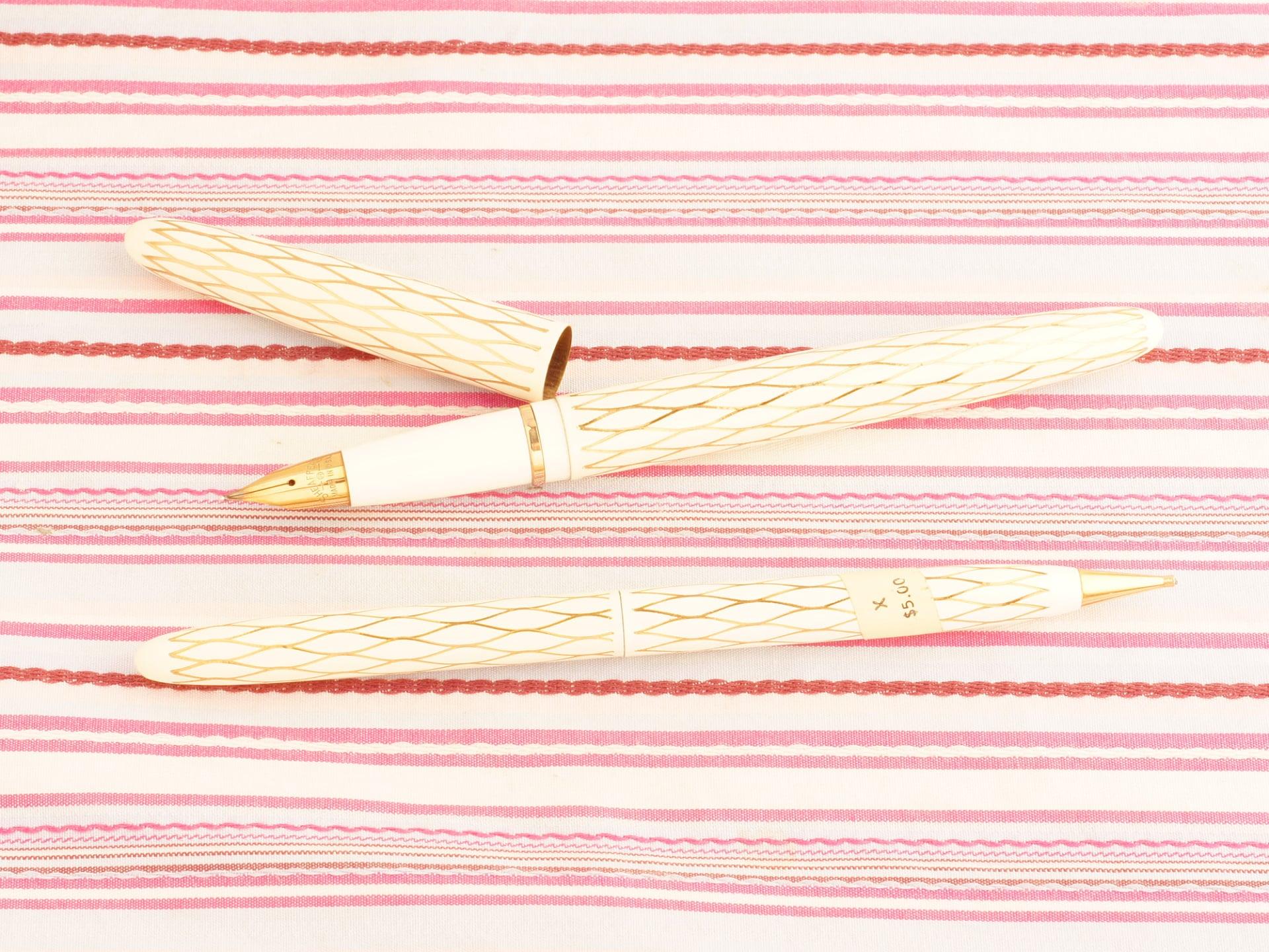 vintage sheaffer skripsert white enamel gold fishscale web fountain pen pencil set new old stock