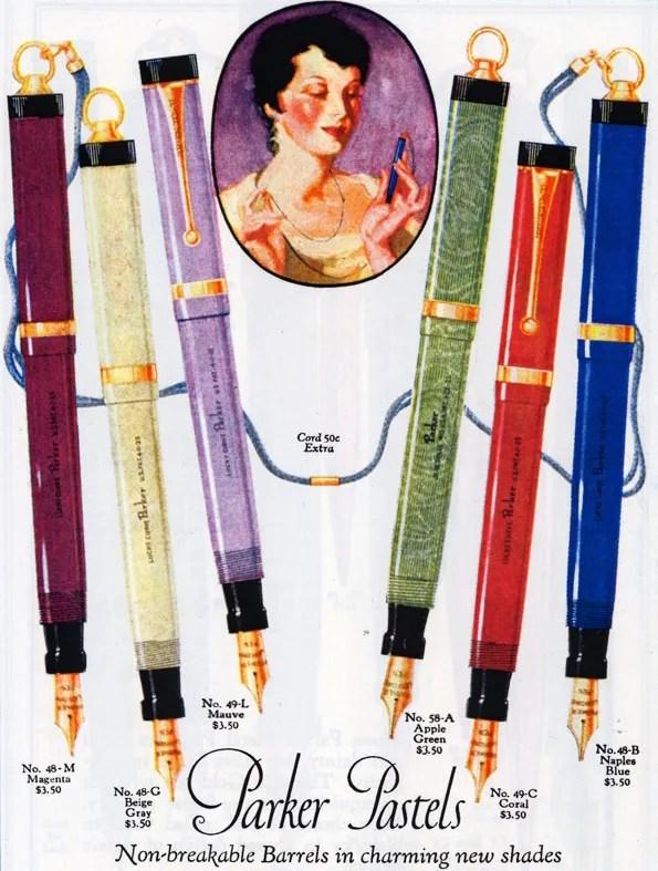 vintage parker duofold pastel moire lucky curve fountain pen