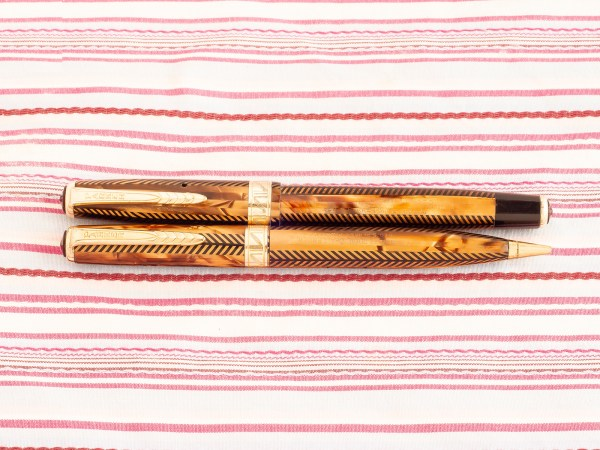 vintage parker royal challenger golden tiger eye herringbone jeweler capband fountain pen pencil set