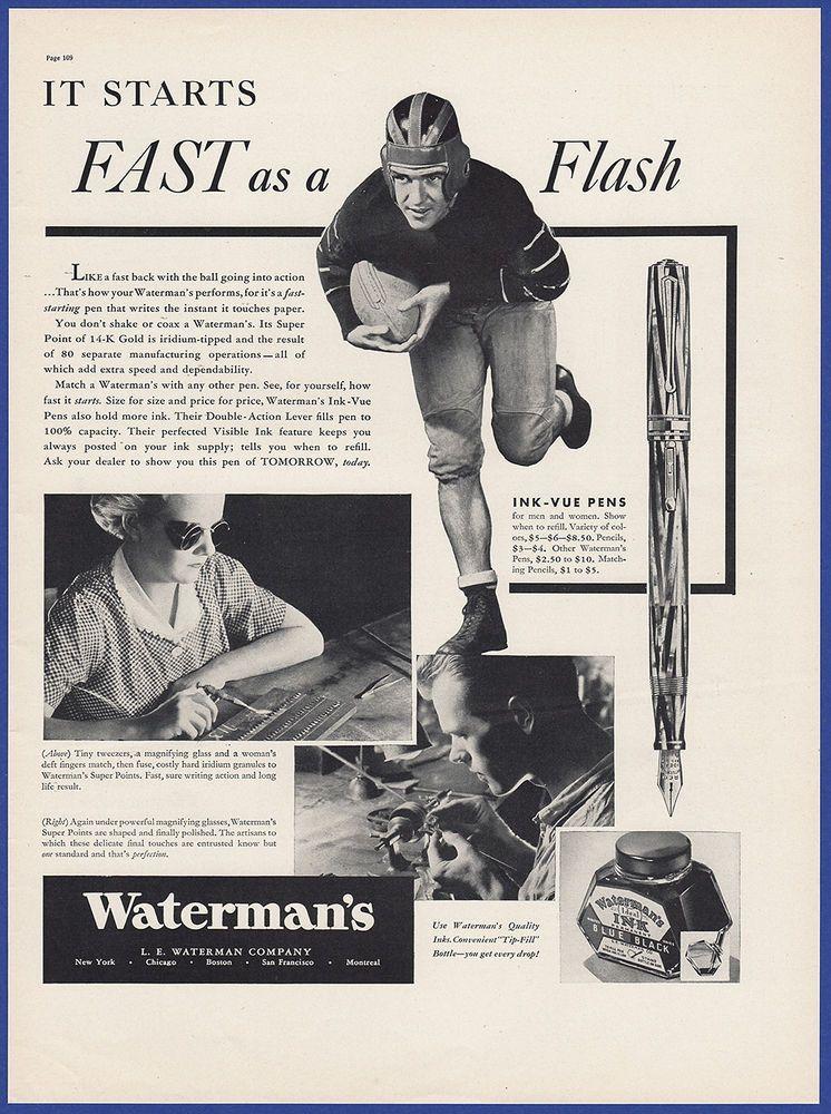 vintage waterman ideal ink vue silver ray fountain pen pencil set keyhole nib ideal globe emblem