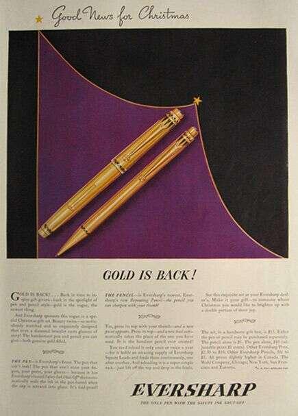 vintage wahl eversharp gold coronet art-deco emblem fountain pen pencil set