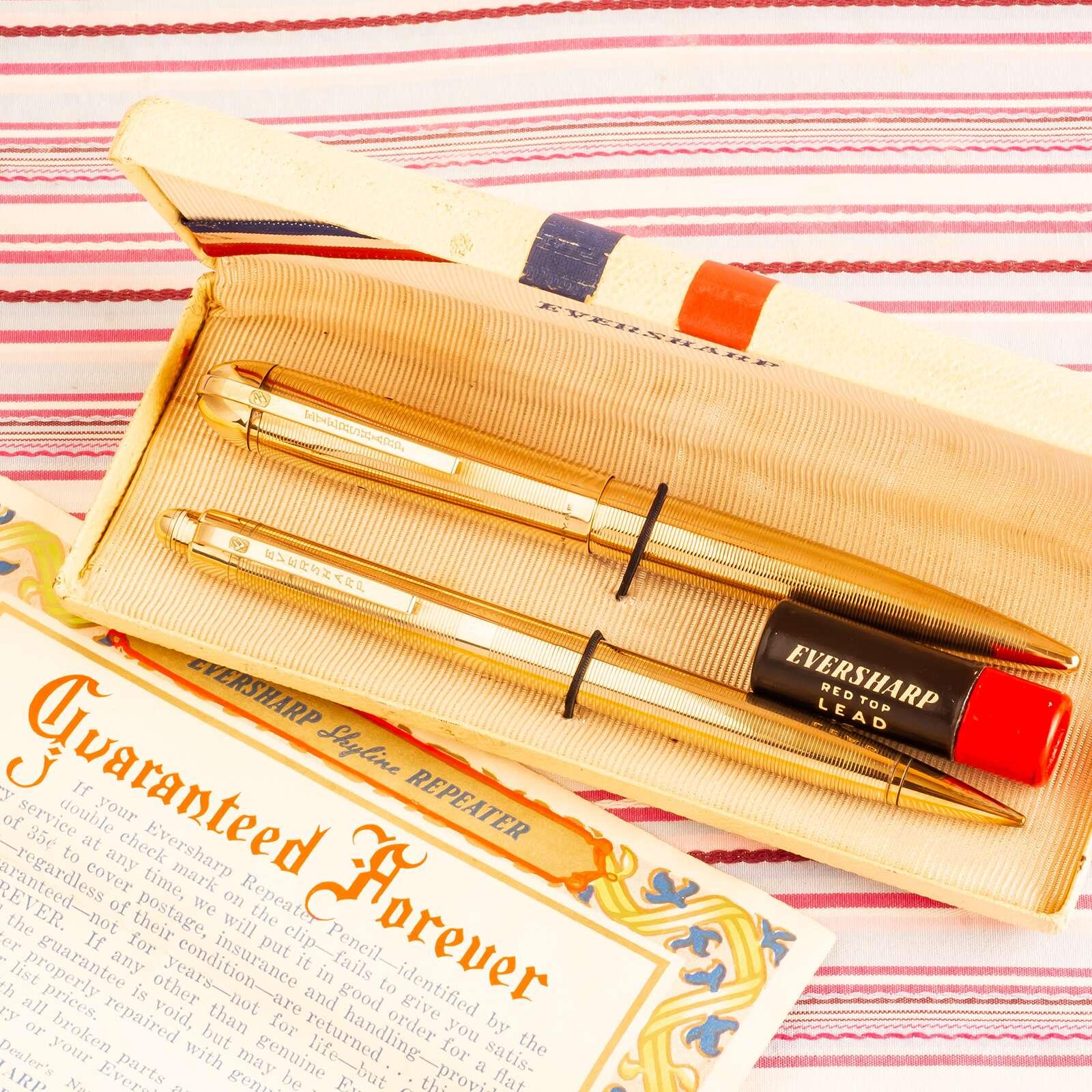 vintage wahl eversharp skyline gold filled fountain pen pencil box set