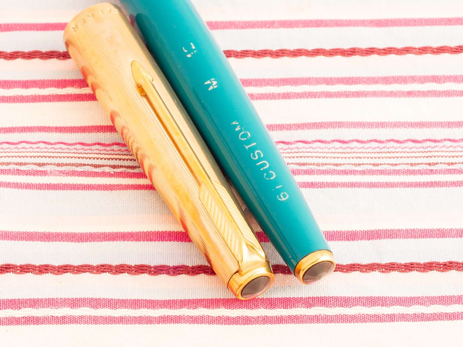 vintage parker 61 gold torquoise fountain pen new old stock
