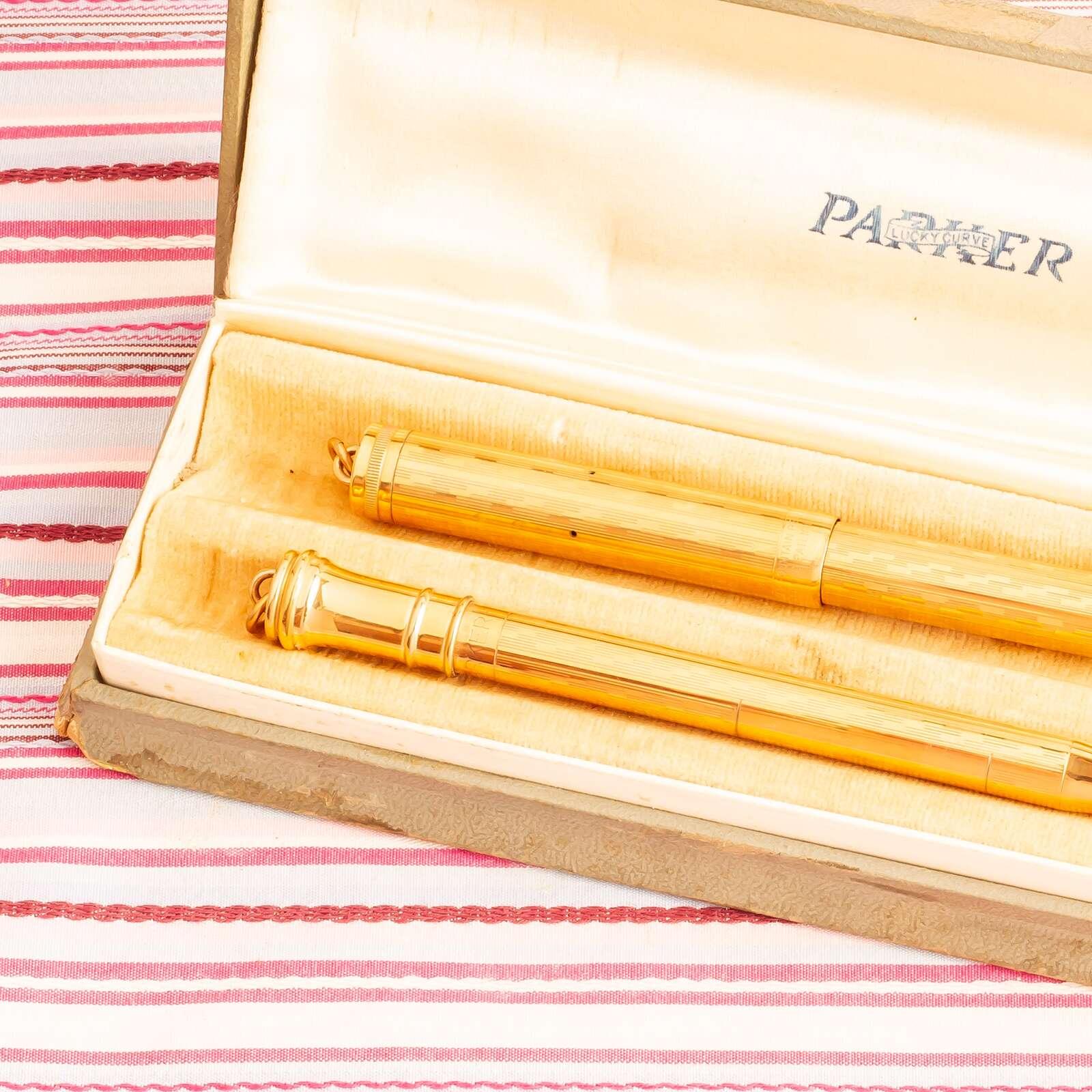 vintage parker lucky curve gold overlay fountain pen pencil box set